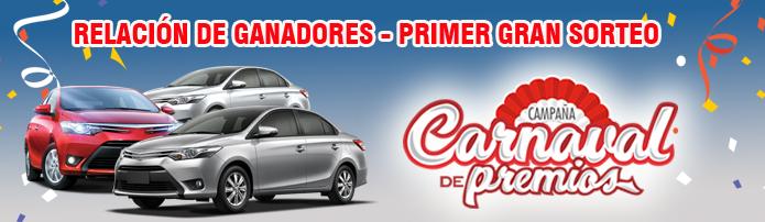 Ganadores Primer Sorteo Carnaval de Premios 2018